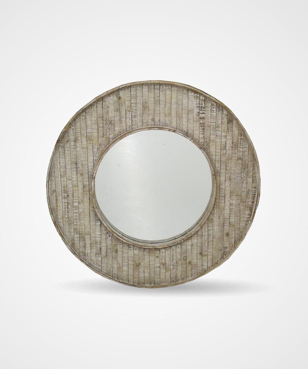 Espejo redondo de madera for Espejos redondos de madera